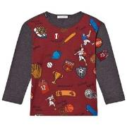 Dolce & Gabbana Sports Cartoon Print Long Sleeve Tee Red and Grey 12 y...