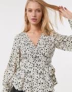 Vero Moda wrap top in beige spot print-Multi