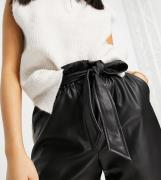 Vero Moda Petite high waisted PU shorts with belted waist in black