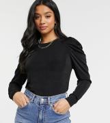 Vero Moda Petite slinky top with puff sleeve detail in black