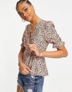 Vero Moda wrap blouse in ditsy floral-Multi