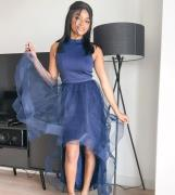 Chi Chi London Petite high low organza dress in navy